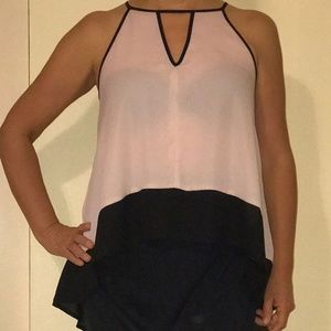 Bar III pink and black halter blouse